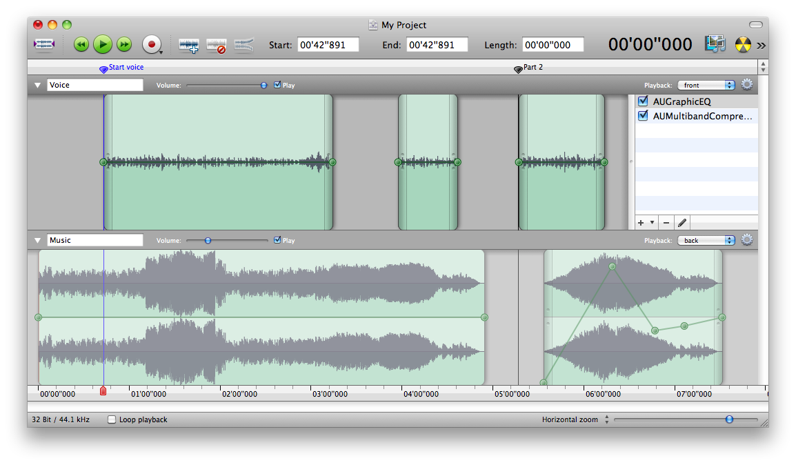 Amadeus Pro, the multitrack editor