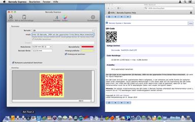 Barcody Express unterstützt QR-Code.